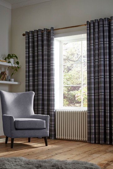 Thermal Woven Check Eyelet Curtains by Catherine Lansfield