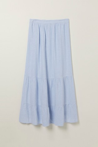 FatFace Blue Evelyn Stripe Maxi Skirt