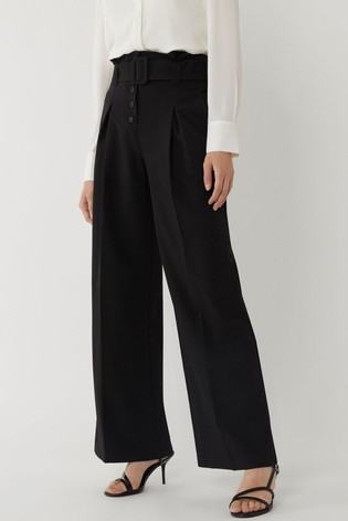 Warehouse Black Belted Wide Leg Trousers