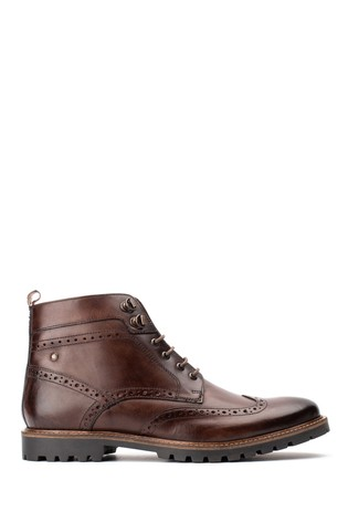 Base London® Brown Bower Washed Lace-Up Boots