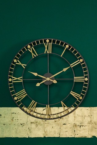 Antique Bronze Gold Metal Round Wall Clock by Pacific