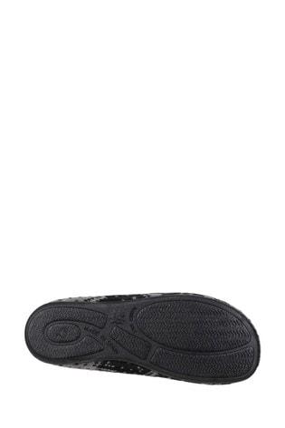 Cotswold Black Eaton Full Slip-On Slippers