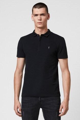 AllSaints Black Jersey Brace Polo