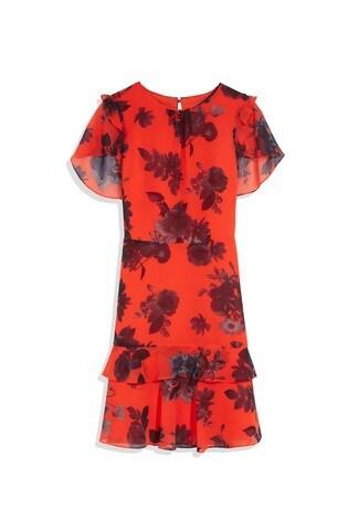 Oasis Orange Shadow Floral Mini Dress