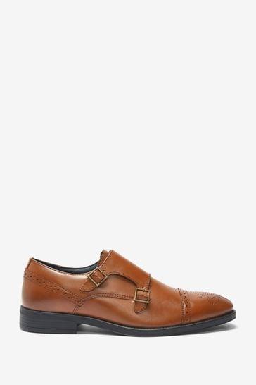 Tan Leather Toe Cap Double Monk Shoes