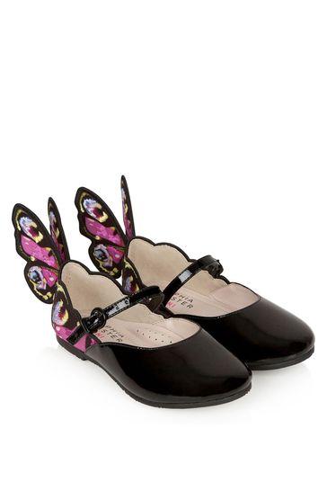 Girls Black Chiara Embroidery Flats
