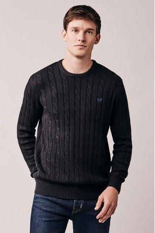 Crew Clothing Black Regatta Cable Crew Sweater