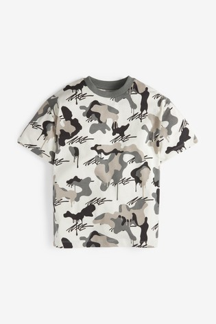 Natural Camo Short Sleeve Relaxed Drop Shoulder Fit T-Shirt (3-16yrs)