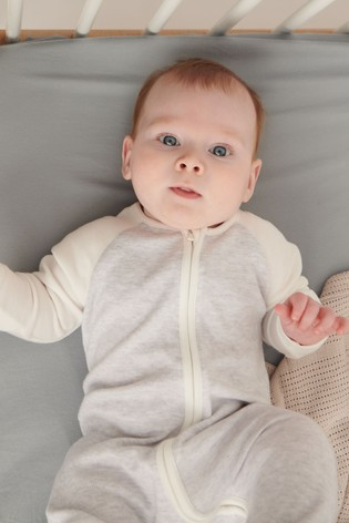 MORI Grey Raglan Sleeve Zip-Up Sleepsuit