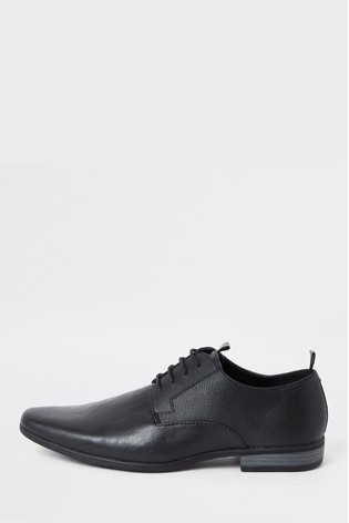 River Island Black Taping Emboss Derby Shoes