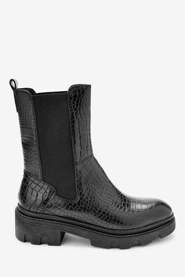 Black Forever Comfort® Super Chunk Croc Effect Boots