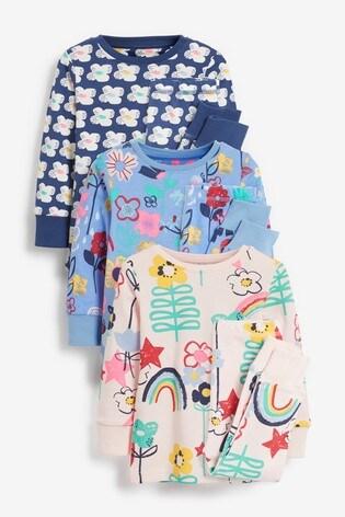 Fluro Multi 3 Pack Floral Snuggle Pyjamas (9mths-8yrs)