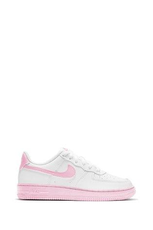 Buy Nike White/Pink Air Force 1 Junior