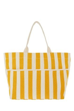 Accessorize Yellow Woven Stripe Tote Bag