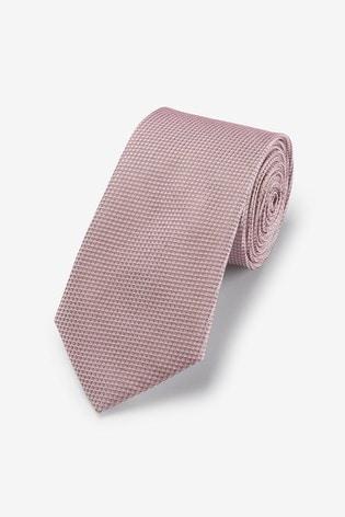 Dusky Pink Wide Signature Textured Silk Tie