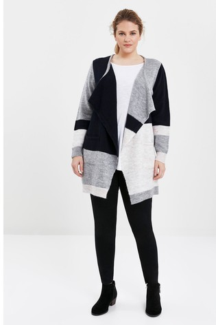 Evans Curve Navy Blue Colourblock Waterfall Cardigan