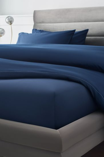 Navy 300 Thread Count Collection Luxe Deep Fitted 100% Cotton Sheet