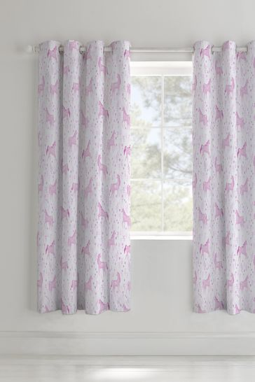 Folk Unicorn Lined Eyelet Curtains by Catherine Lansfield