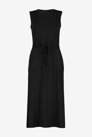 Warehouse Black Utility Drawstring Midi Dress