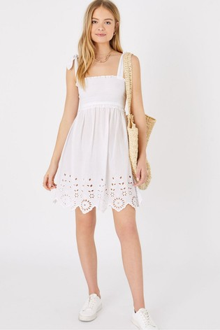 Accessorize White Broderie Hem Bandeau Dress