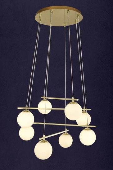 Finch Opal Ball 8 Light Pendant by Searchlight