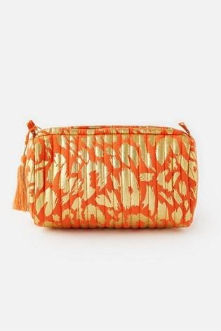 Accessorize Orange Metallic Leopard Print Washbag