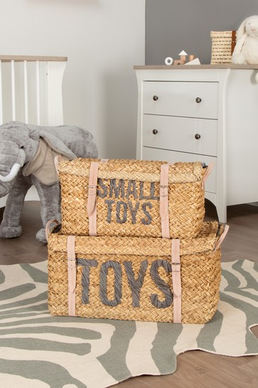 Set of 2 Childhome Rattan Storage Baskets With Buckle Detail