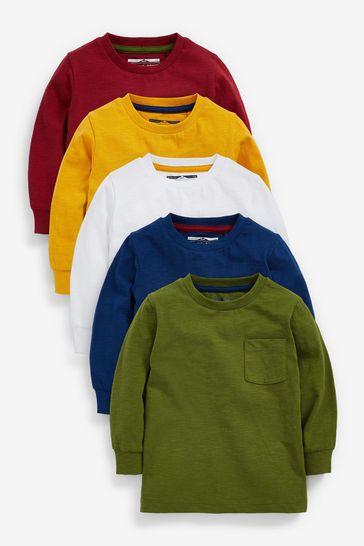Multi 5 Pack Long Sleeve T-Shirts (3mths-7yrs)