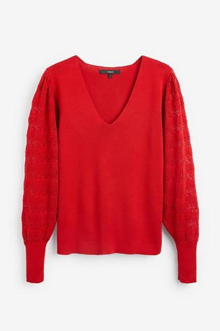 Red V-Neck Jumper With Pointelle Sleeve