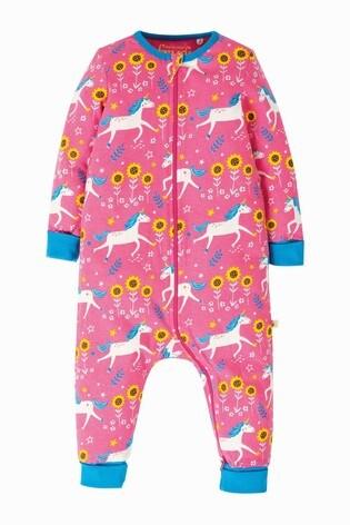 Frugi GOTS Organic Pink Zipped Babygrow In Unicorn Print