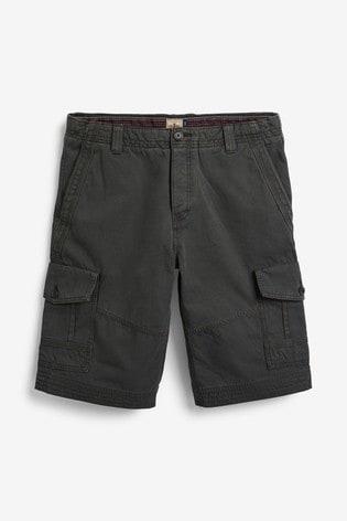 Charcoal Premium Longer Laundered Cargo Shorts