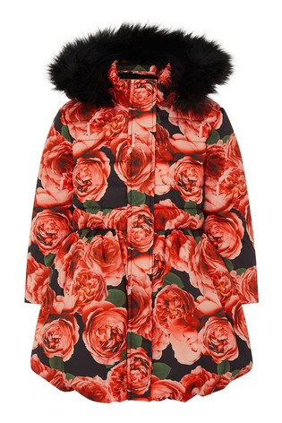 Monsoon Red Roses Print Padded Coat