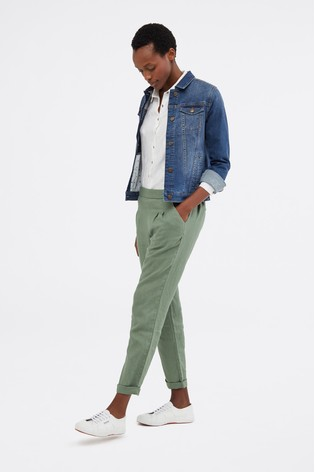 White Stuff Green Maison Linen Trousers