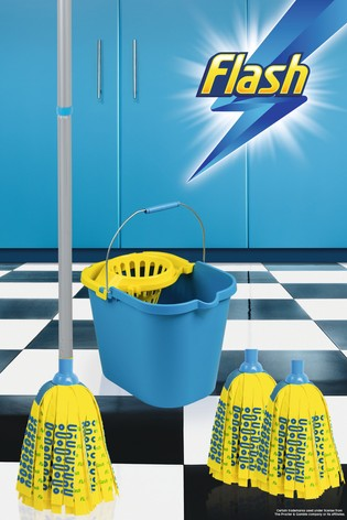 Flash Mighty Mop With 2 Mop Head Refills And Flash Mop Bucket by Wham