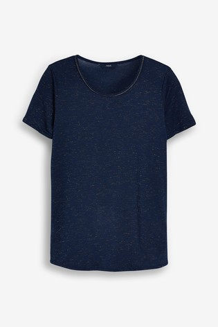 Navy Cut Metallic Scoop T-Shirt