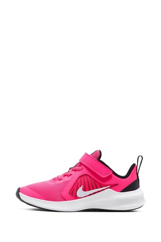 Nike Run Pink/White Velcro Downshifter 10 Junior Trainers