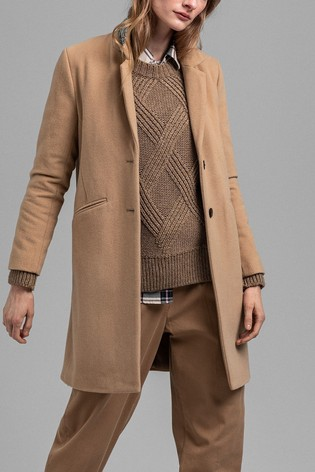 GANT Brown Camel Classic Wool Tailored Coat