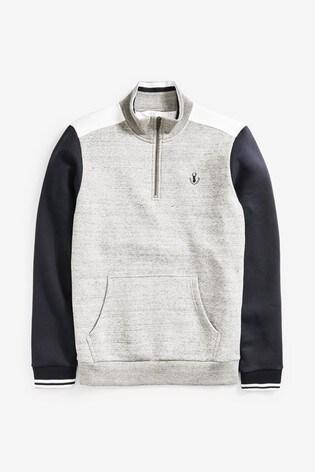 Navy Zip Neck Sweatshirt Piped Jersey