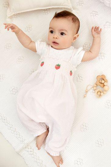 Pink Seersucker Strawberry Dungarees And Bodysuit Set (0mths-3yrs)