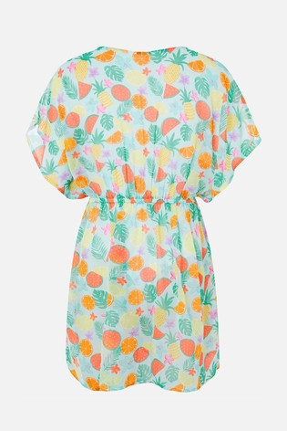 Angels By Accessorize Green Fruit Print Kaftan Dress