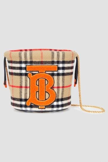Girls Beige Vintage Check Wool Drawstring Bag