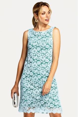 HotSquash Green Zip Back Sleeveless Shift Dress