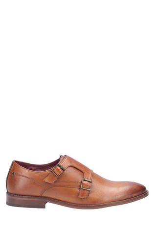 Base London® Brown Montage Washed Buckle Up Monk Shoes