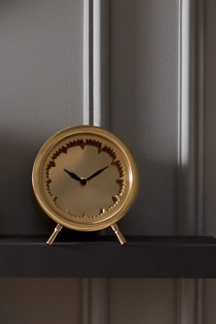 Antique Brass Cog Design Table Clock by Pacific