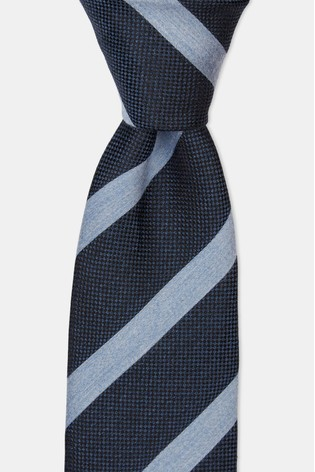 Moss 1851 Navy & Sky Melange Stripe Tie