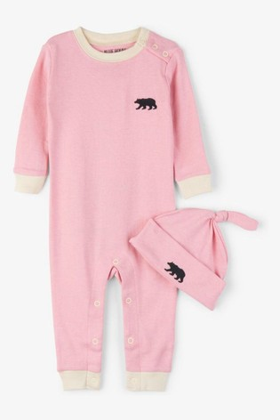 Hatley Pink Little Bear Bum Baby Coverall & Hat