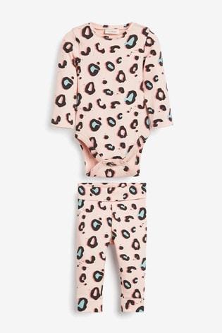 Pink Leopard Print Rib Bodysuit And Leggings Set (0mths-2yrs)