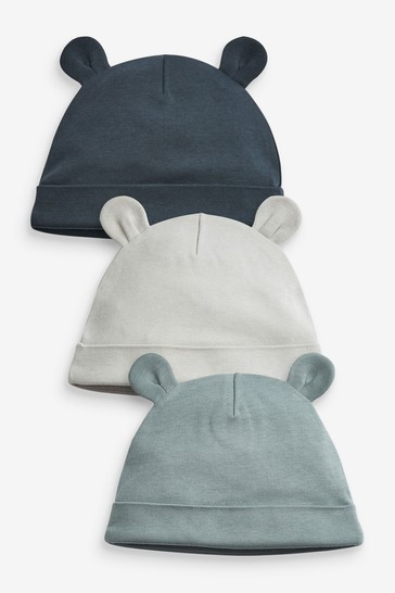 Blue Plain 3 Pack Beanie Hats (Younger)