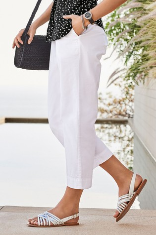 White Cropped Chino Trousers