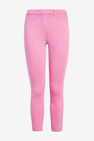Pink Jersey Cropped Leggings